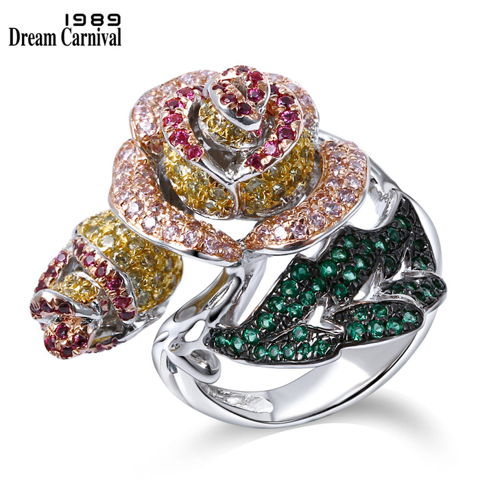 DreamCarnival 1989 Elegant Jewelry Big Rose Flower Leaf Design Pave Bright Colorful stones Cocktail Party Brass Ring VR90224B