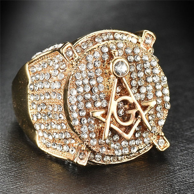 AAA CZ Zircon Ice Out Bling Big Wide Masonic Ring Gold Filled Copper Material Freemasonry Rings Men Hip Hop Rapper Jewelry