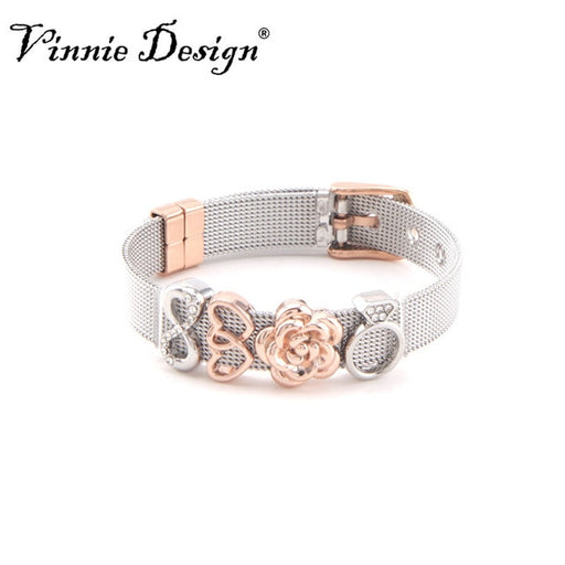 Vinnie Design Jewelry Keeper Stainless Steel Mesh Bracelet with 4pcs Slide Charms Silver Rose Gold Wrap Bracelets Keepers
