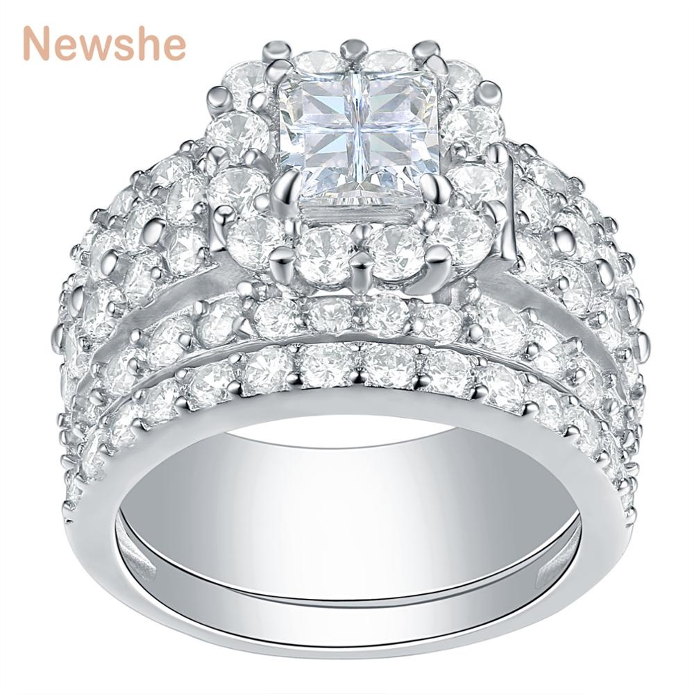 Newshe Halo Wedding Rings For Women 4 Carats Cross Cut AAA Zirconia Classic Jewelry 925 Sterling Silver Engagement Ring Set
