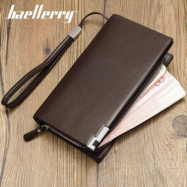 Fashion Clutch Male Wallet Men Baellerry Wallets Wristlet Men Clutch Bags Coin Purse Men's Wallet Leather Male Purse portemonnee