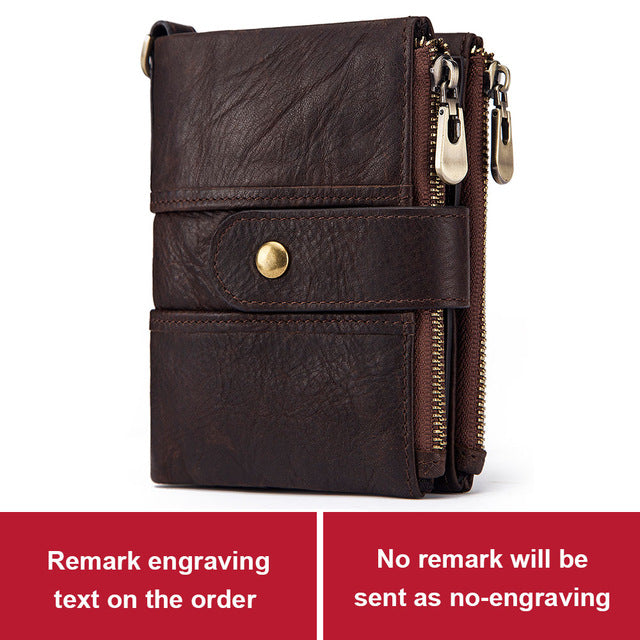 KAVIS Genuine Leather Free Engraving Rfid Wallet Men Crazy Horse Wallets Coin Purse Short Male Money Bag Mini Walet  Quality
