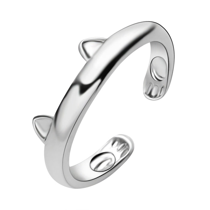 Silver Plated Cat Ear Ring Design Cute Fashion Jewelry Cat Ring For Women and Girl Gifts Adjustable Cuff Rings