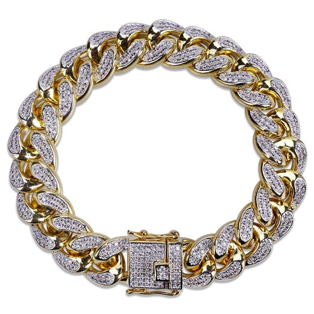 "TOPGRILLZ Hip Hop Male Jewelry Bracelet Copper Iced Out Gold Color Plated CZ Stone 14mm Chain Bracelets With 7"" 8"" Two sizes"