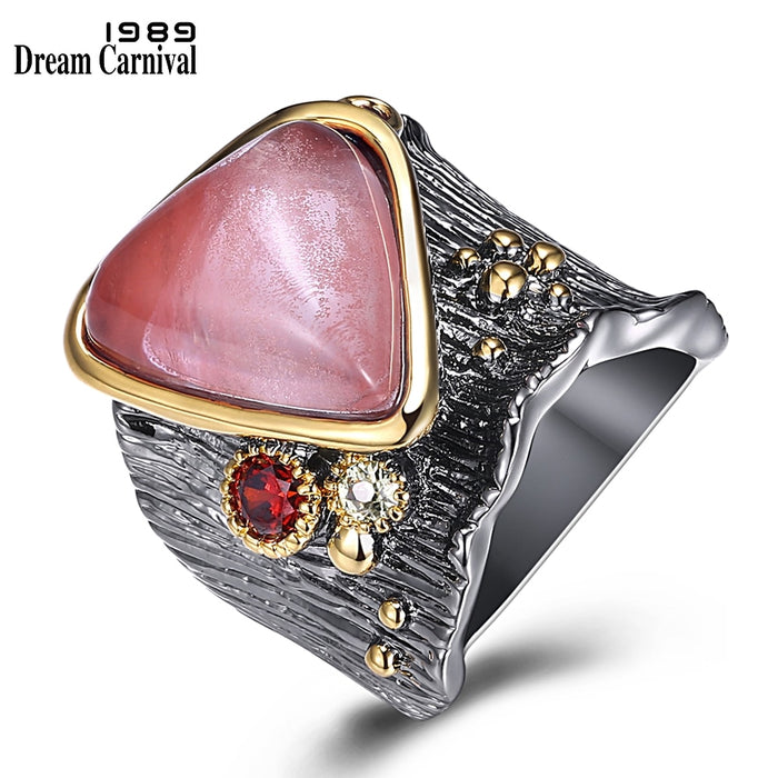 DreamCarnival 1989 Recommend New Gothic Big Rings for Women Water Melon Color Stone Triangle Shape Hot Fashion Wholesale WA11608