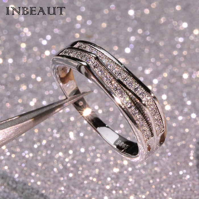 INBEAUT Hot Sale Double Split Crown Micro Round Cubic Zironia Party Ring for Women Trendy Special Love Rings Elegant Jewelry