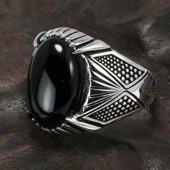 Guaranteed 925 Sterling Silver Rings Antique Turkey Ring For Men Black Ring With Stone Natural Onyx Turkish Male Jewelry