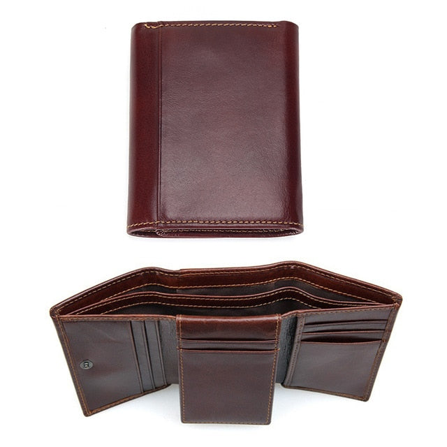 RFID Wallet Antitheft Scanning Leather Wallet Hasp Leisure Men's Slim Leather Mini Wallet Case Credit Card Trifold Purse