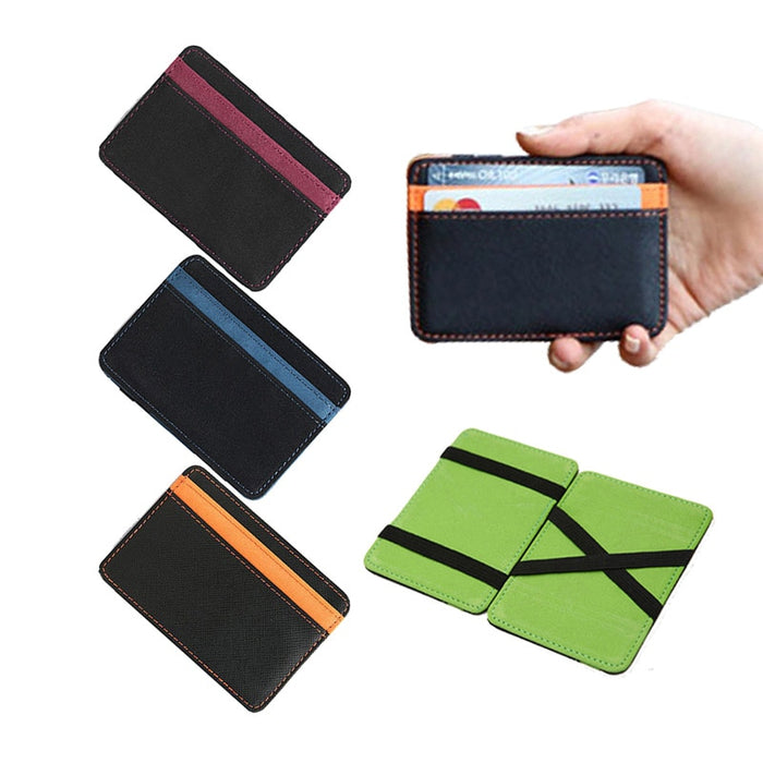 2019 New Brand men's leather magic wallet money clips casual clutch bus card bag for women 10*7*0.8cm man purse