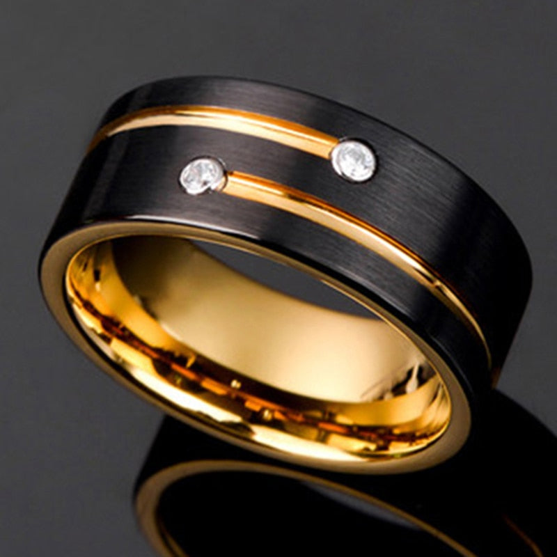Soul Men New Black Gold Color Tungsten Carbide Ring For Men Women Wedding Band Anniversary Inlay Shiny Stone Rings Jewelry