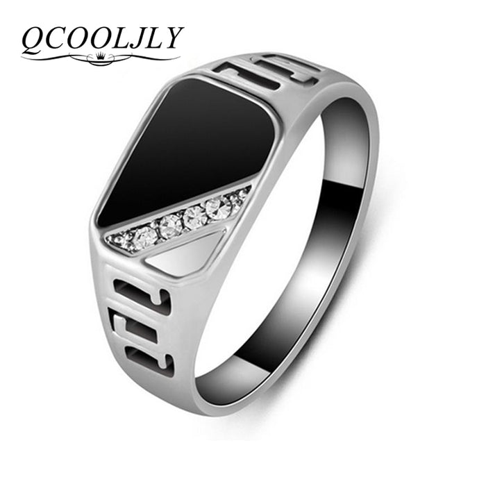 QCOOLJLY New Fashion Size 7-12 Classic Gold Silver Color Rhinestone Men Ring Black Enamel Male Finger Rings Best Selling