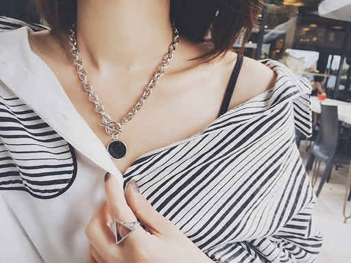 Marble Chain Short Necklace Bracelet Chain Set Disc Cuff Coin Bangle Fashion Acrylic Bangles & Necklace For Women