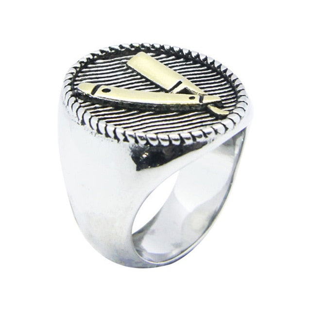 1pc Support Dropship New Design Razor Ring 316L Stainless Steel Golden Silver Punk Style Cool Razor Ring