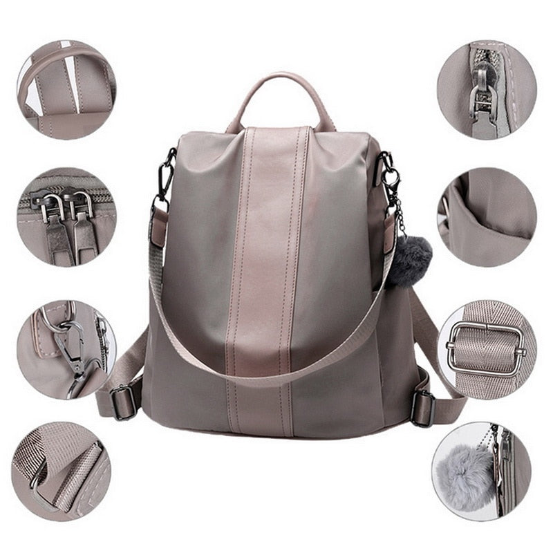 Adisputent Women Concise Norm Backpack Neutral Schoolbag Knap-sack Anti-theft Design And Waterproof Nylon Backpacks