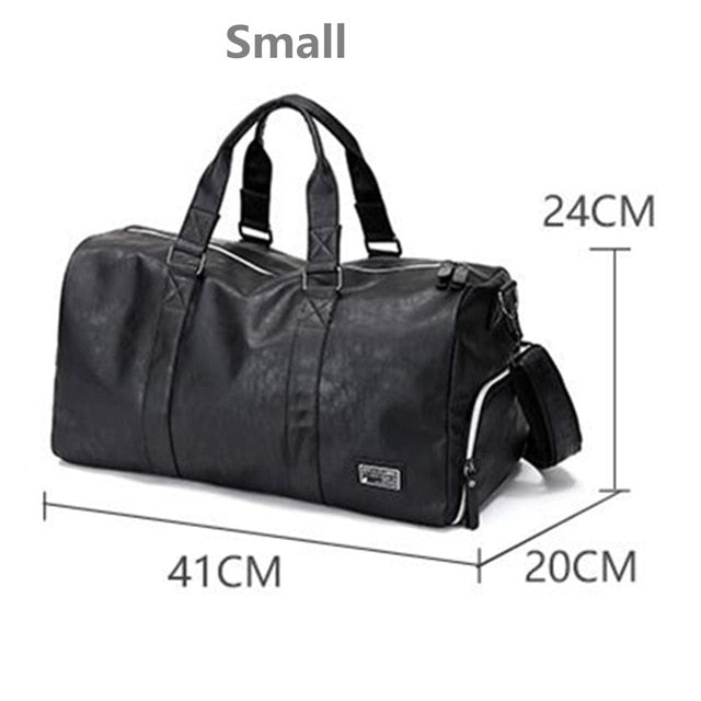 AEQUEEN Black Men Travel Duffle Bags Waterproof PU Leather Handbags Shoulder Bag For Women Man Totes Large Capacity Weekend Bag