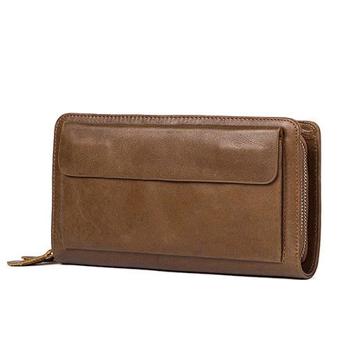 MVA Men's Clutch Male Wallet Men's Genuine Leather Double Zipper Clutch Bags purse for men Passport Phone Wallets credit card