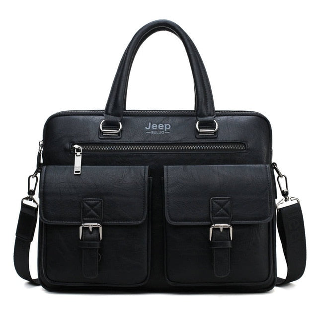 JEEP BULUO Men Business Bag For 13'3 inch Laptop Briefcase Bags 2 in 1 Set Handbags High Quality Leather Office Bags Totes Male