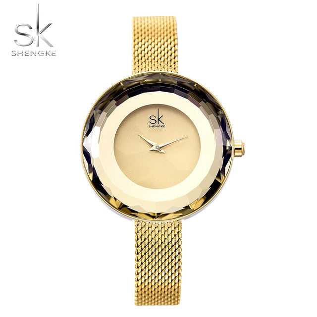 Shengke Fashion Luxury Ladies Watch Prism Fac Gold Steel Mesh Quartz Women Watches Top Brand Clock Relogio Feminino