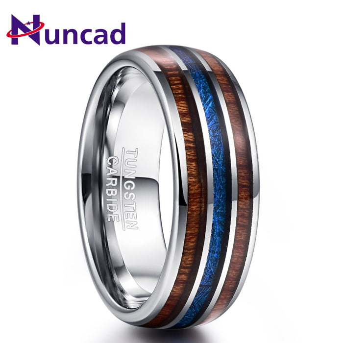 Nuncad Polished 8MM Hawaiian Koa Wood Men Ring Full Size Wedding Bands Blue Imitation Vermiculite 100% Tungsten Carbide Ring