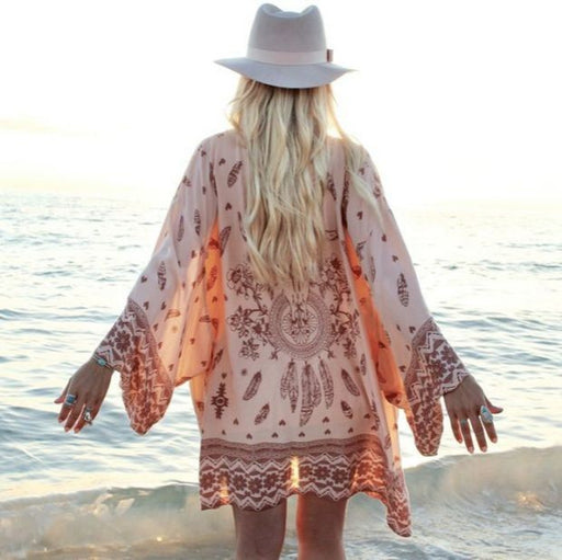 2018 Women Shirt Kimono Boho Cardigan Vintage Geometric Print Blouse Loose Shawl Cape Knits Bohemian Coat Jacket Two Color