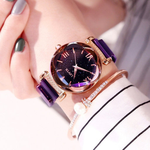 2019 Popular Watches For Women Fashion Elegant Magnet Starry Sky Buckle Luxury Purple Ladies Wristwatch Roman Numeral Gift Clock