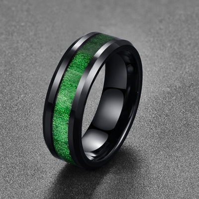2018 Electroplated  Vintage men's jewelry rings with green line Inlaid Maple Black Tungsten Steel Ring on sale