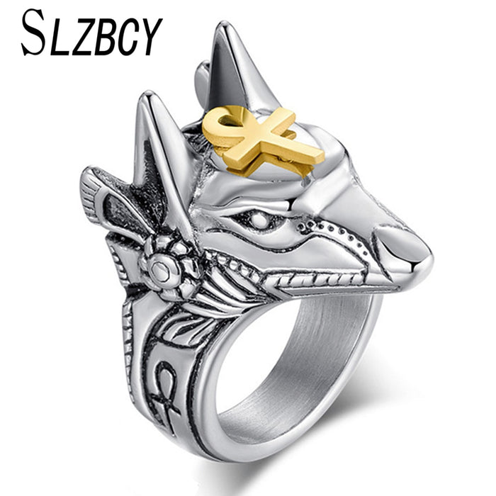 SLZBCY Stainless Steel Egypt Cross Anubis God Finger Rings For Men Women Punk Wolf Head Knuckle Ring Statement Retro Jewelry