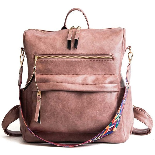 Leather Backpack Women 2019 Students School Bag Large Backpacks Multifunction Travel Bags Mochila Pink Vintage Back Pack XA529H
