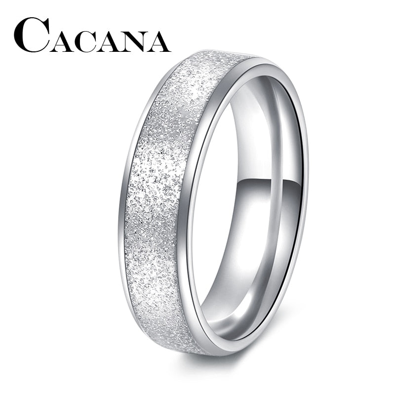 CACANA  Fashion Simple Ring Female Fashion Stainless Steel Ring Colour Scrub Rings 316L Stainless Steel Rings For Women