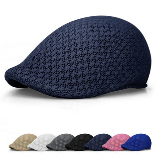 Summer Unisex Men Women Sun Mesh Beret Cap Newsboy Golf Cabbie Flat Peaked  Hat Casquette Breathable Berets