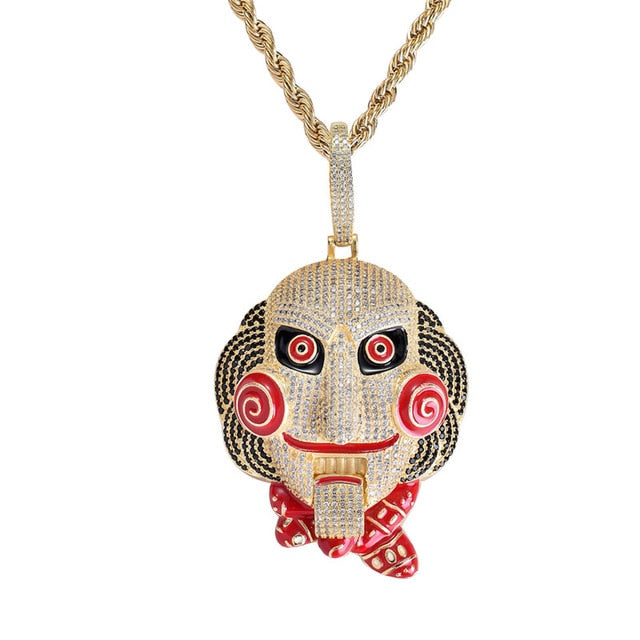 Big Size Horror Mask Pendant Necklace Mouth Can Move New Arrival Hip Hop Jewelry AAA Cubic Zirconia Iced Out Mens Necklace