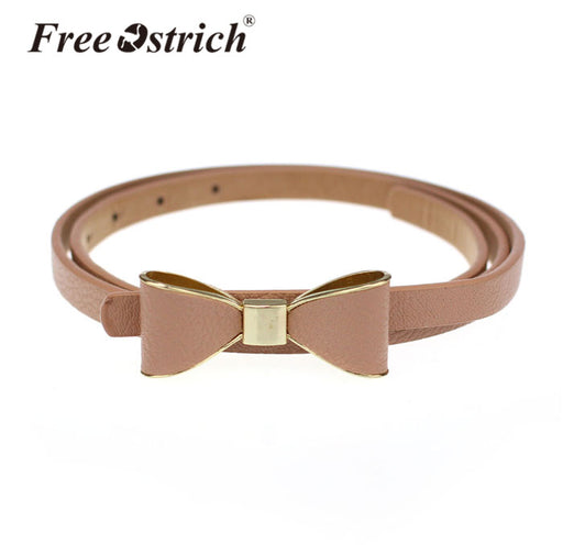 Free Ostrich PU Leather Women 2019 Skinny Butterfly Bow Waist Belt Dor Dress Narrow Thin Waistband Hot Sale A1220