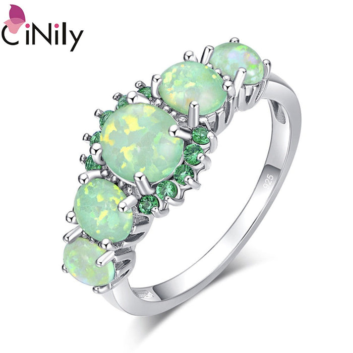 CiNily Lavish Big Green Fire Opal Stone Filled Rings Silver Plated CZ Zirconia Crystal Bohemia Boho Jewelry Woman Size 11 12