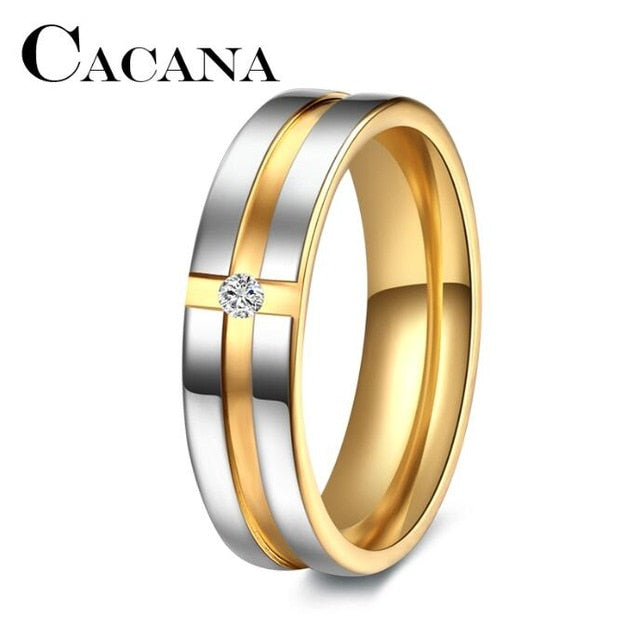CACANA  Stainless Steel Rings Wedding Rings for Women Cubic Zirconia Men Personalized CustomJewelery
