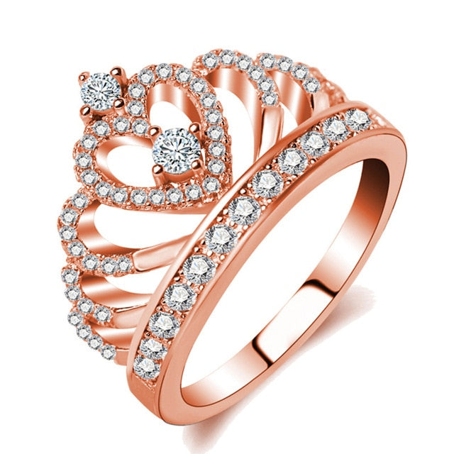 Jiayiqi 2018 Princess Style  Hollow Heart Silver/Rose Gold Color Crown Ring Jewelry Engagement Wedding Party
