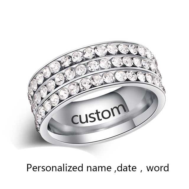 CACANA  Stainless Steel Rings For Women Personalized Custom Fashion Jewelry Wholesale NO.R120