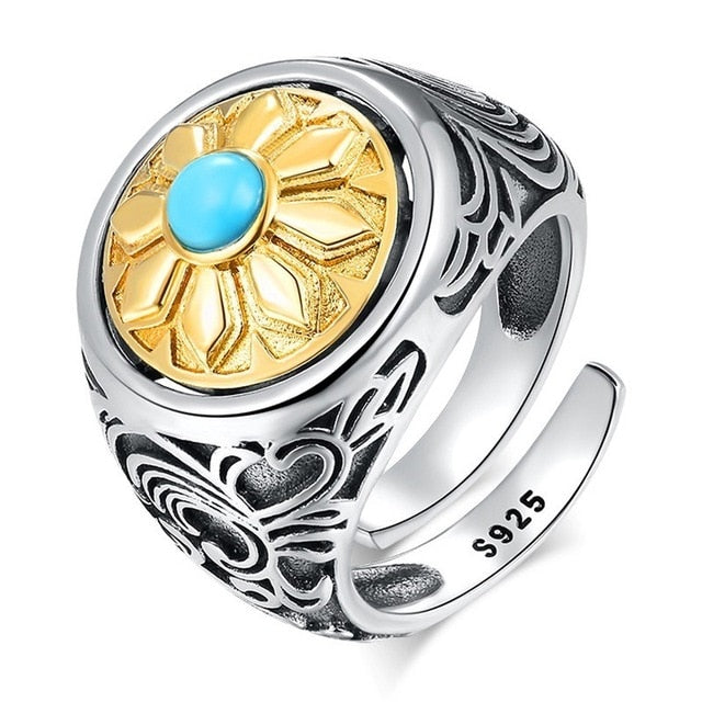 ZABRA 925 Sterling Silver Spin Ring For Men Women Open Size 2 Choices Buddha Six Words Signet Ring Vintage Rock Jewelry