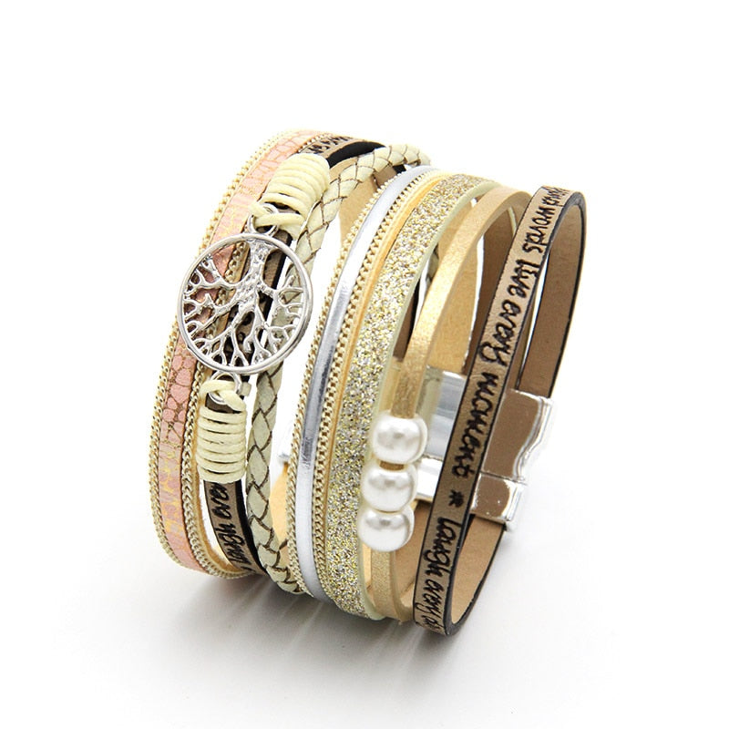 ZG Hot Bohemian Pearl Crystal Leather Bracelet Woman Pulseira Magnetic Buckle Multilayer Bracelet Women Peace Bracelet