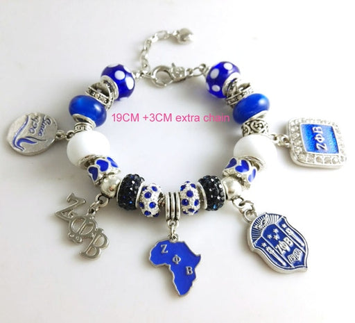 Newest  ZETA PHI BETA  Sorority  Bracelet ZPB charm bead  bracelet bangle