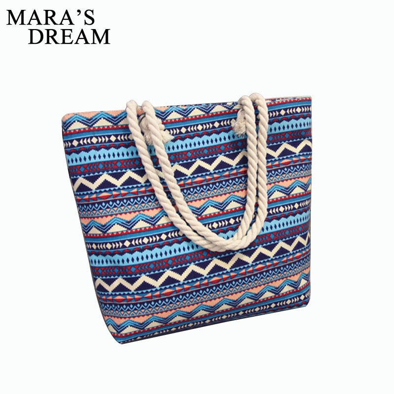 Mara's Dream 2019 Casual Women Floral Large Capacity Tote Canvas Shoulder Bag Shopping Bag Beach Bags Casual Tote Feminina