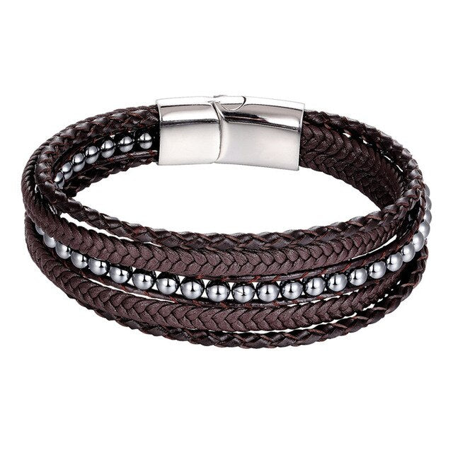 Fashion Braided Multi-layer Genuine leather Bracelets Men Stone Beads Rope Stainless Steel Charm bracelet Women Couple Wristband