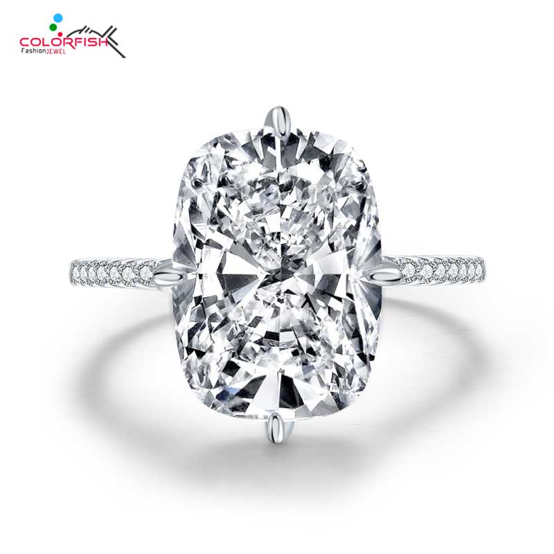 COLORFISH Solid 925 Sterling Silver Solitaire Engagement Rings For Women Micropave 5A Zirconia 6ct Cushion Cut Engagement Ring