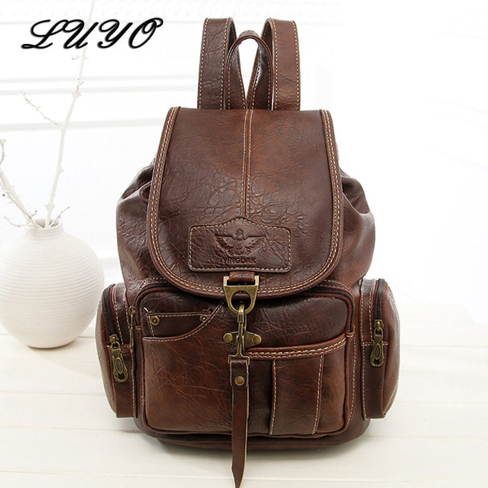 2018 High Quality Women Backpack Vintage Backpacks For Teenage Girls Fashion Large School Bags PU Leather Black Mochila Feminina