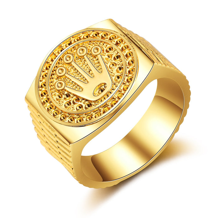 Fooderwerk Jewelry Fashion Hip hop / rock Crown Ring For Men and Women Gold Ring Jewelry