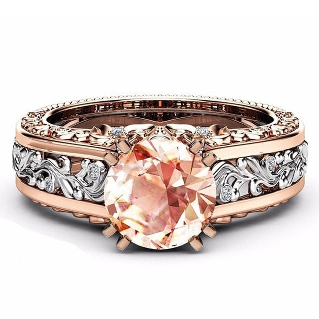 Fashion Hollow Plant Zircon Rose Gold Engagement Ring for Female Two-tone Flower Rhinestone Wedding Rings for Women Jewelry Ring