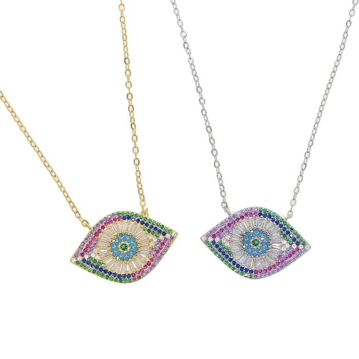 Gold silver color colorful cz paved luxury gorgeous evil eye necklace for women lady lucky eye jewelry