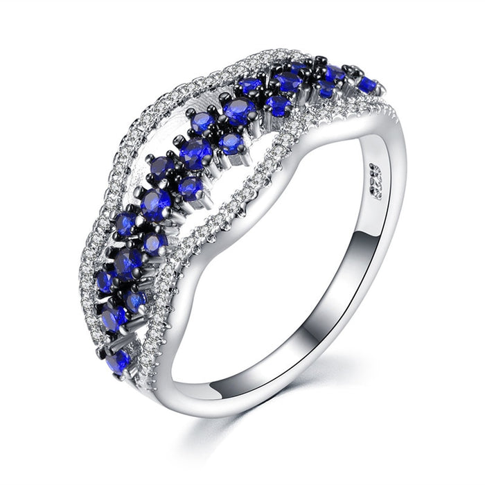 Romad Blue Crystal Rings for Women Multi Layer Engagement ring Silver Fashion Wedding Jewelry Girl Friend's Gift R4