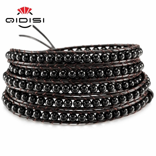 Men Women Leather Bracelet Unique Mixed Natural Stones Charm 5 Strands Wrap Bracelets Handmade Boho Bracelet Dropship