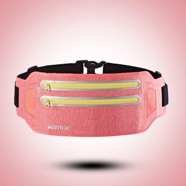 RIMIX Unisex Running Belt For 6.5 Inch Phone Reflective Sport Waist Band Bag Pack For Fitness Jogging Marathon Gym Fitness