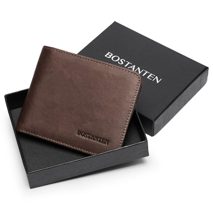 BOSTANTEN Men ID/Credit Card Holder Bifold Front Pocket Wallet with box RFID Blocking Business card holder 100% genuine leather